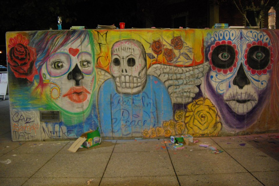 dia de los muertos chalk mural made fresh collective