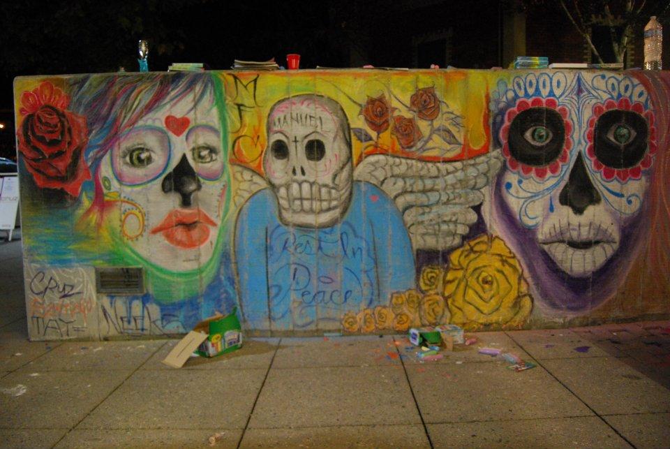 Dia de los muertos chalk mural made fresh collective for Dia de los muertos mural