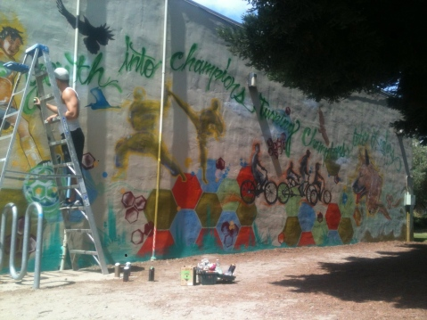 PAL Mural with youth in Watsonville